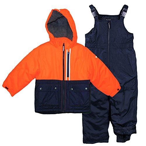 Osh Kosh Little Boys' Ski Jacket and Snowbib Snowsuit Set, Orange/Navy, 5/6