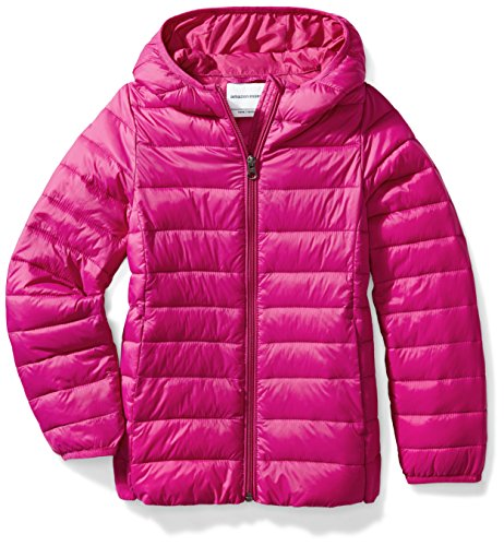 Amazon Essentials Girls' Lightweight Water-Resistant Packable Hooded Puffer Jacket, Fuchsia Purple, Large
