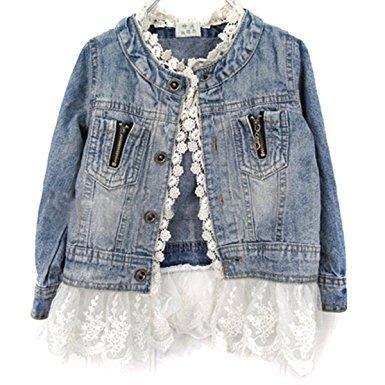 Girls Kids Fashion Jean Jacket Denim Coat Jeans Lace Outwear Cowboy Overcoat age 7-8