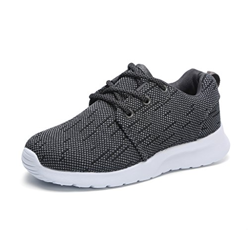 Hawkwell Breathable Lace-up Running Shoes(Little Kid/Big Kid),Grey Mesh,13 M US Little Kid