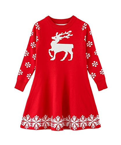 SMILING PINKER Little Girls Christmas Dress Reindeer Snowflake Xmas Gifts Winter Knit Sweater Dresses (6-7, red)