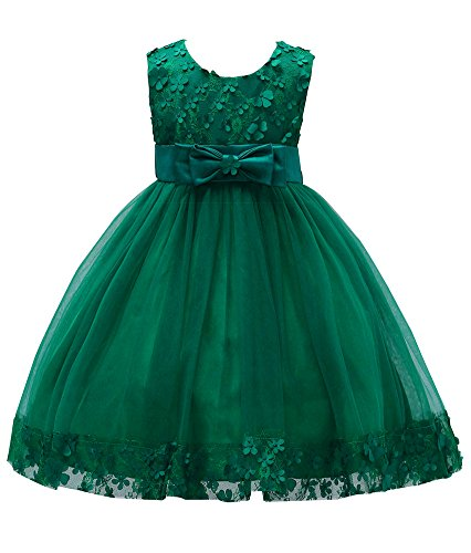 Pageant Dress for Girls 7-16 Special Occasion Tops Christmas Sleeveless Knee Little Girl Dresses Size 5 6 for Wedding Party Princess Pageant Elegant Lace Tutu Tulle Ball Gown (Dark Green, 8)