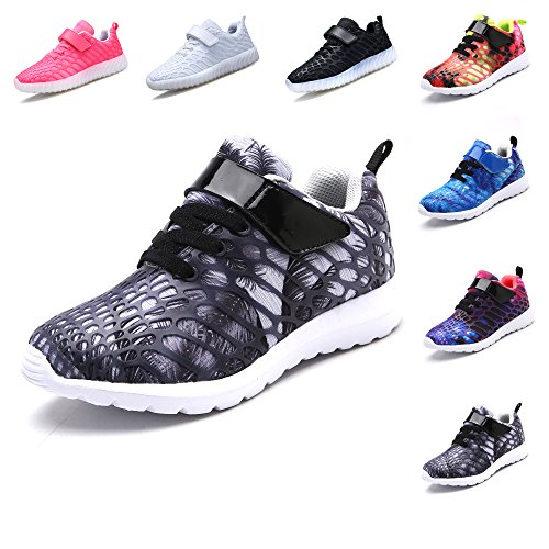 VIIRUN Little Kids Easy wearing Lightweight Fashion Sneakers Boys and Girls Breathable Running Shoes Gray 31/13M US Little Kids