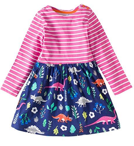 Lymanchi Little Girls Cotton Long Sleeve Casual Dress Applique Striped Dresses Cute Princess Playwear Dress E 5-6T