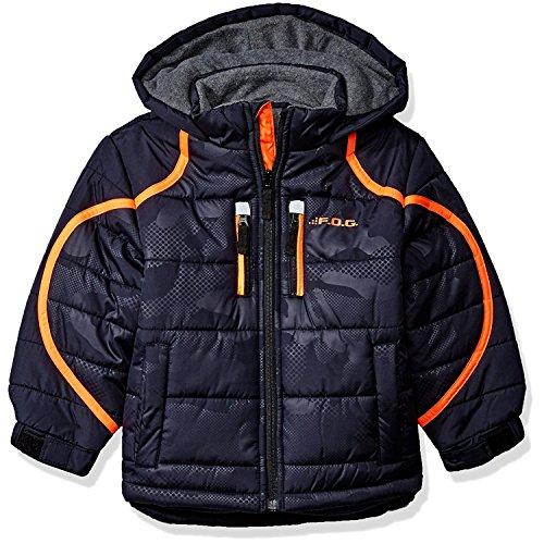 London Fog Little Boys' Hooded Pieced Puffer Jacket, Camo/Navy, 5/6