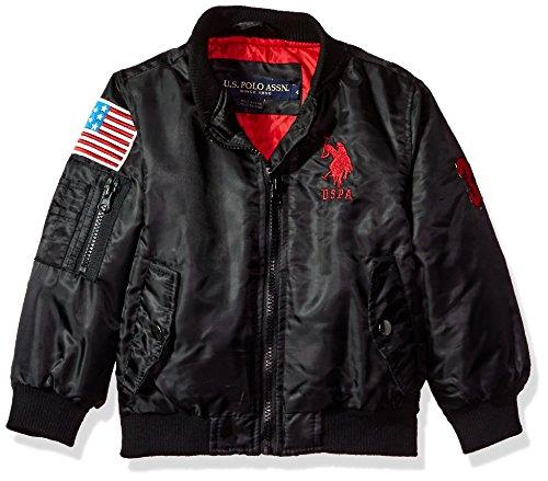 US Polo Association Big Boys' Fashion Outerwear Jacket, UB57-Flight-Black, 10/12