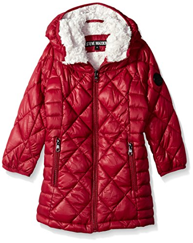 Steve Madden Big Girls' Bubble Jacket (More Styles Available), Beet Red, 7/8