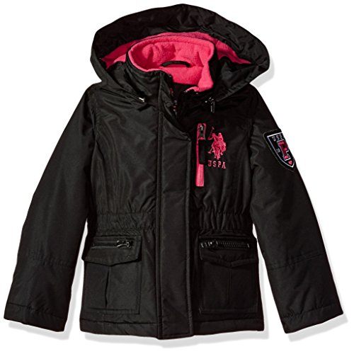 US Polo Association Big Girls' Outerwear Jacket (More Styles Available), Parka-UA88-Black, 7/8