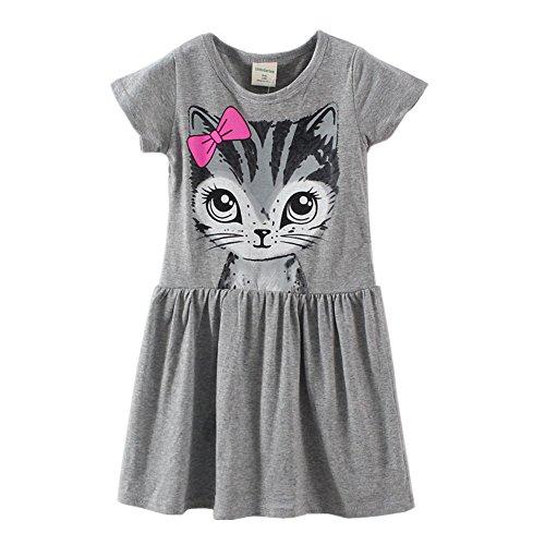 LittleSpring Little Girls' Dresses Summer Cat Printing 6 Grey