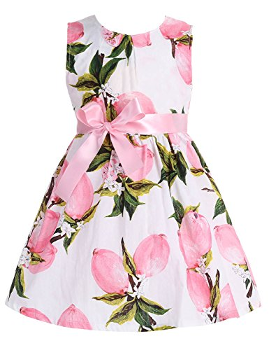 Fubin Kid Girl Floral Cotton Dresses Summer Clothes pink lemon Height 49''/4-5 years