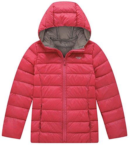 Wantdo Girl's Light Weight Casual Winter Jacket Hooded Down Coat Windcheater(Oriental Red, 8)