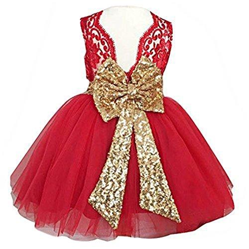 0-12 Years Little Big Flower Girl Dresses for Wedding (130, Red)