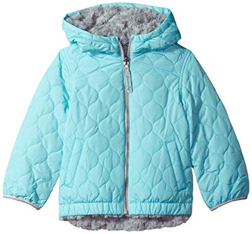 London Fog Big Girls' Reversible Quilted Jacket with Hood, Aqua, 7/8