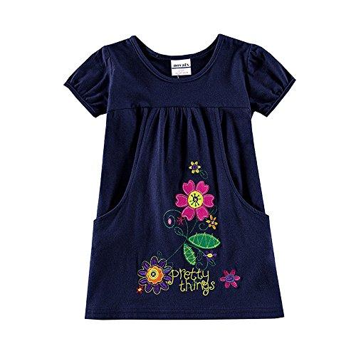 Novatx Short Sleeves Cotton Girls Dress H7104 (6/7Y, Navy)