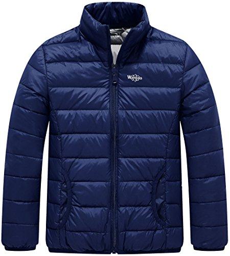 Wantdo Boy's Ultra Light Stand-up Collar Winter Jacket Windproof Travel Down Coats Outwear(Navy, 6/7)