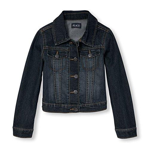 The Children's Place Big Girls' Denim Jacket, Dark Stone, Medium/7-8