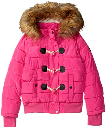 Steve Madden Big Girls' Fashion Outerwear Jacket (More Styles Available), Yarn Dye Print/Hot Pink, 14/16