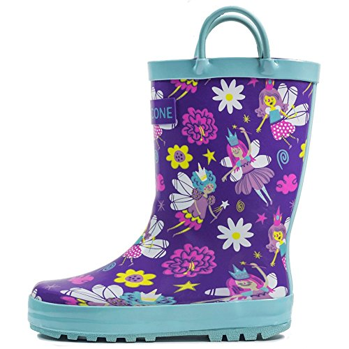 Lone Cone Children's Waterproof Rubber Rain Boots in Fun Patterns with Easy-On Handles Simple For Kids (Bippity Boppity Fairy Boots, 12 M US Little Kid)