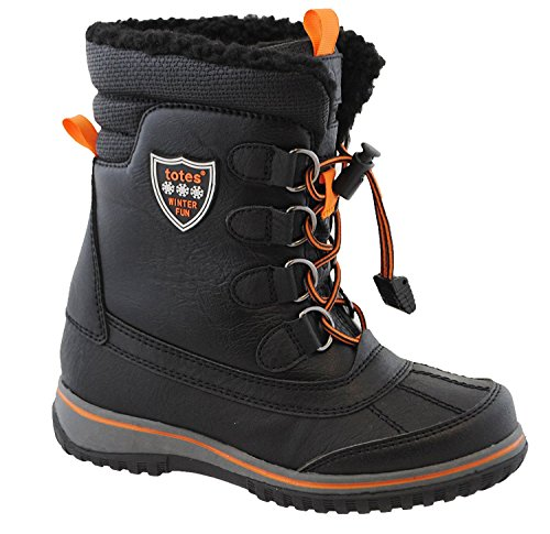 Totes Boys Buster Insulated Snow Boot Black | Kids Rubber Sole Shoelace Loose – Fit Boot, Size – 3M