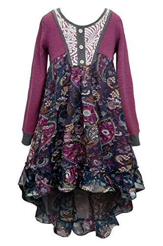 SaraSara Big Girls Long Sleeve Hi Low Dress (With Many Options), 7-16 (8, Berry Multi)
