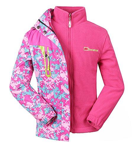 Roseate Girls 3-in-1 Jacket with Fleece Liner Outdoor Winter Outerwear Pink 10