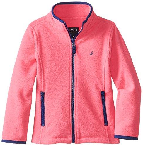 Nautica Little Girls' Polar Fleece Front Zip Jacket, Pink, M (5)