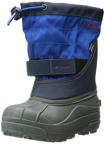 Columbia Youth Powderbug Plus Winter Boot (Little Kid/Big Kid), Collegiate Navy/Chili, 6 M US Big Kid