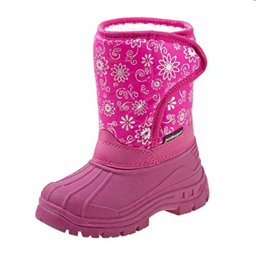 Rugged Bear Girls Velcro Snow Boots, Pink, 11 M US Little Kid'