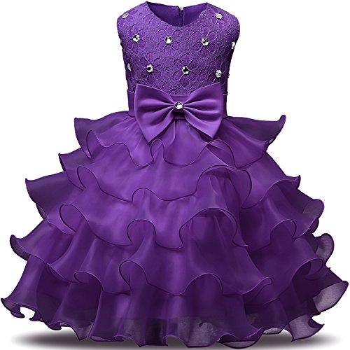 NNJXD GirlDressKidsRufflesLacePartyWeddingDressesSize(140)6-7Years Deep Purple