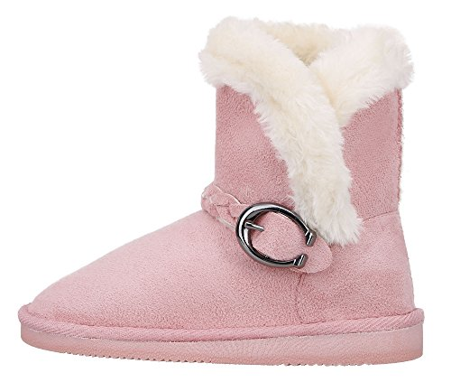 Kids Girls Boots Winter Warm Sherpa Lined Faux Fur Kids Snow Boots Pink 1