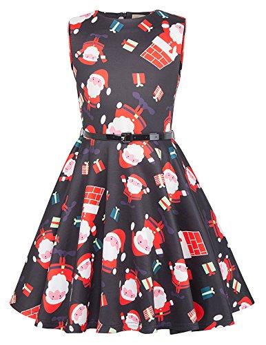 Kate Kasin Girls Sleeveless Santa Claus Vintage Casual Dresses 9-10yrs,KK834