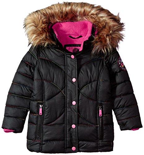 Weatherproof Big Girls' Outerwear Jacket (More Styles Available), Rainbow Stitch-WG149-Black, 7/8