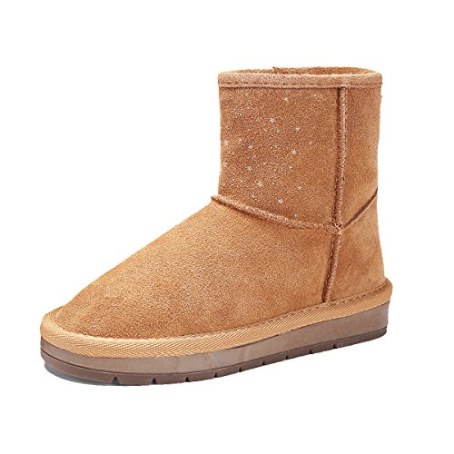 BTDREAM Girl's Fur Lined Winter Snow Boots Pull-On Style Flat Shoes Brown Size 31