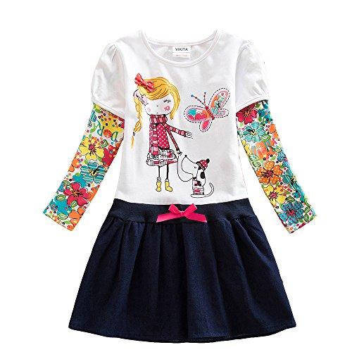 VIKITA 2017 New Kid Girl Embroidery Cotton Dress Long Sleeve H5926WHITE 6-7 Years