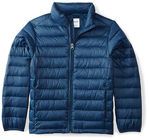 Amazon Essentials Boys' Lightweight Water-Resistant Packable Puffer Jacket, Navy, Medium