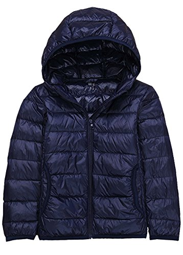 ZITY Down Coats For Boy,Hooded Water Repellent Down Jacket Navy US 4