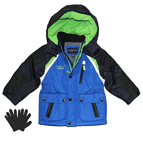 London Fog Boys Midweight Winter Jacket with Fleece Lining and Gloves Blue 7