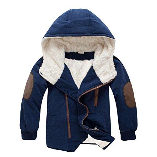 Laimeng_world,Children Kid Boys Hooded Coat Fur Winter Warm Solid Outwear Jackets (6-8T, Navy)
