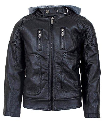 Urban Republic Boys' Faux Leather Moto Jacket With Zips (10/12, Black/Grey Hood)