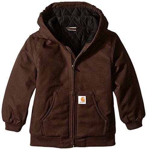 Carhartt Big Boys' Active Duck Jacket, Mustang Brown, Small-7/8