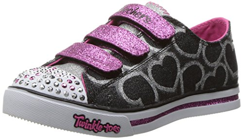 Skechers Little Kid (4-8 Years) Twinkle Toes: Chit Chat-Prolifics Black/Hot Pink Light-Up Sneaker – 12 M US Little Kid