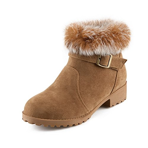 1TO9 Girls Square Heels Fur Collar Buckle Camel Frosted Boots – 6.5 B(M) US