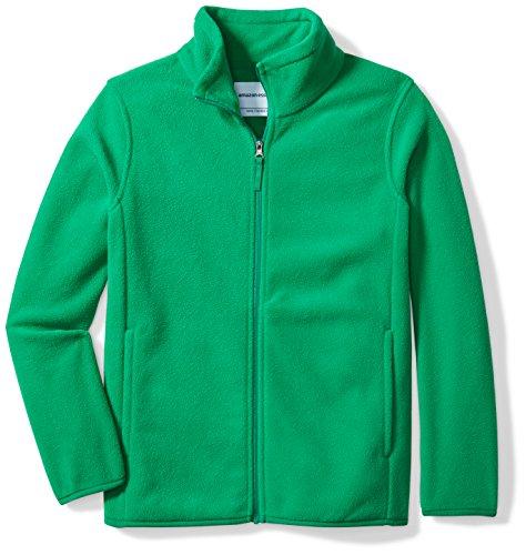 Amazon Essentials Big Boys' Full-Zip Polar Fleece Jacket, Kelly Green, Medium