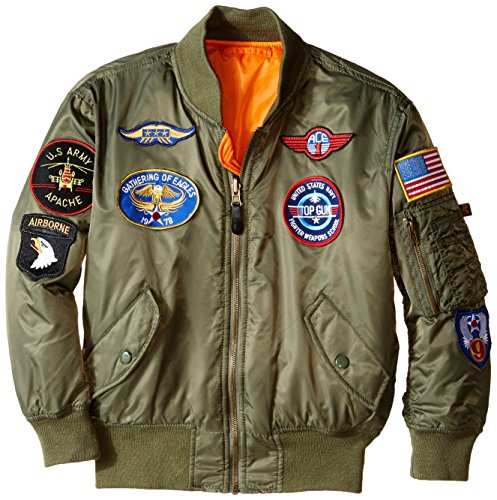 Alpha Industries Big Boys' MA-1 Bomber Jacket with Patches, Sage, Large/14/16